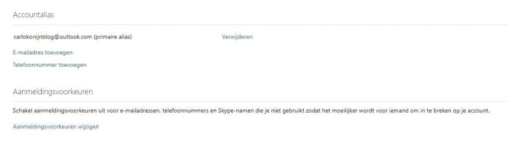 nieuw outlook e-mailadres alias toevoegen
