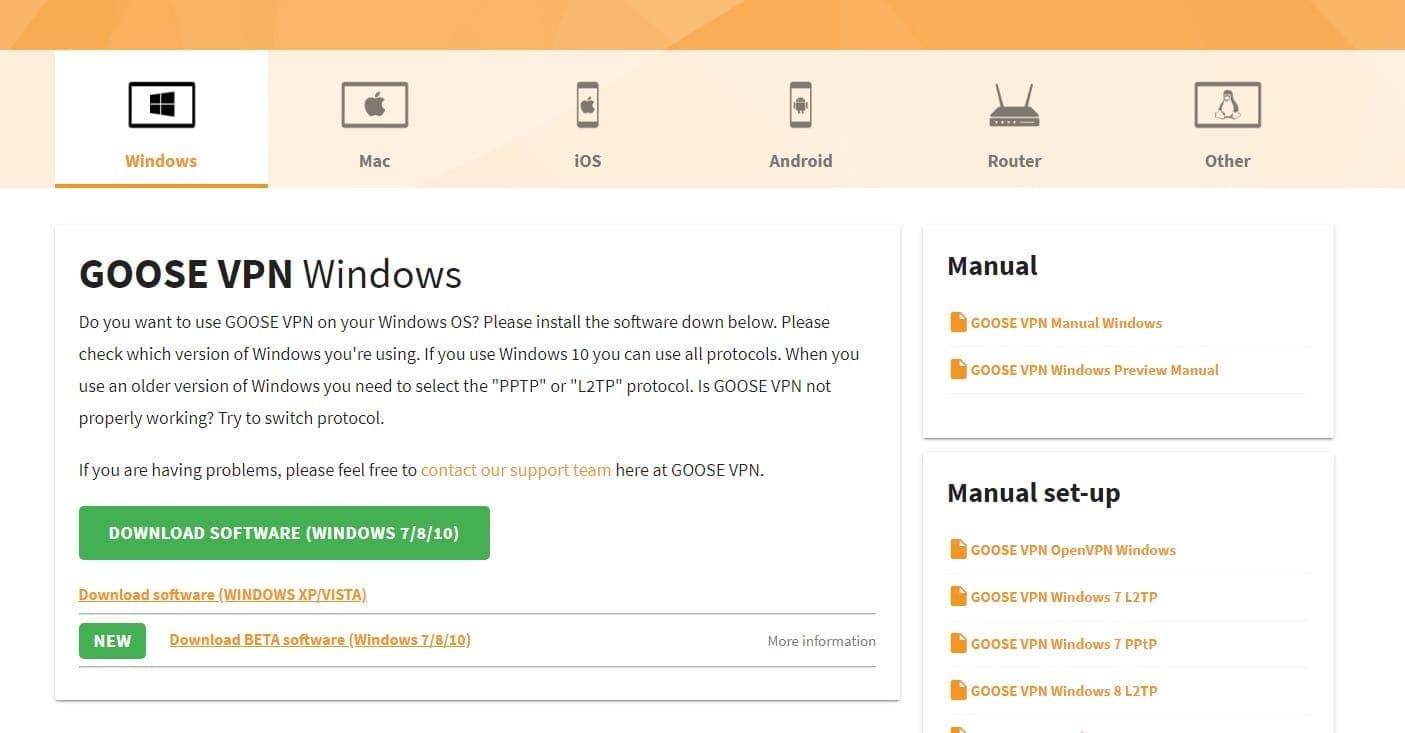 Goose VPN software downloaden