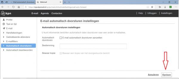kpn e-mail doorsturen naar @outlook e-mailadres