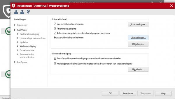G-data webbeveiliging installeren en activeren